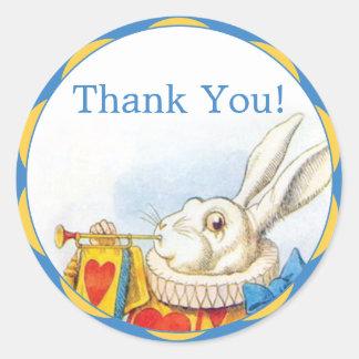 Alice i favör för tack för underlandvitkanin runt klistermärke