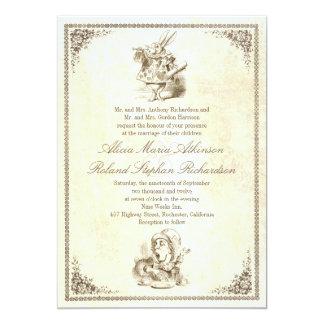Alice i inbjudningar för underlandsagabröllop