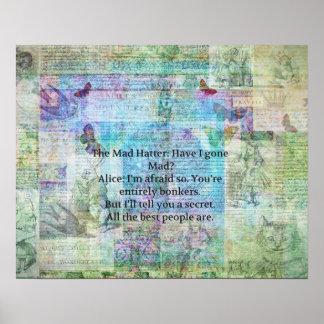 Alice i nyckfullt Bonkers citationstecken för Poster