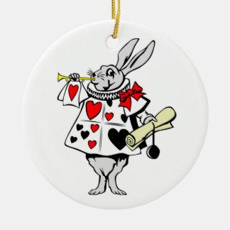 Alice i svart för hjärtor för underlandvitkanin julgransprydnad keramik