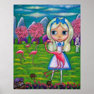 Alice i underland- & Flamingoskaninigelkott Poster