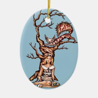 Alice i underland med den Cheshire kattteckningen Julgransprydnad Keramik