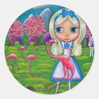 Alice i underland och Flamingosklistermärken Runt Klistermärke