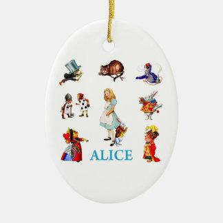 Alice i underland och vänner julgransprydnad keramik