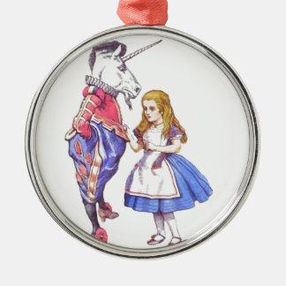 Alice i underland- & Unicornprydnad Julgransprydnad Metall