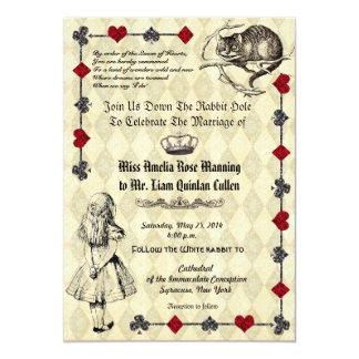 Alice i underlandbröllopinbjudan 12,7 x 17,8 cm inbjudningskort