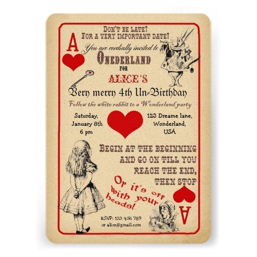Alice i underlandfödelsedagsfest inbjudan
