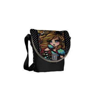 Alice i underlandsvart & vitfantasikonst kurir väska