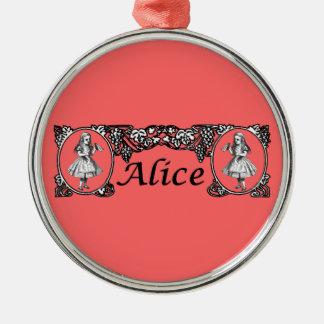 Alice i underlandvintageram julgransprydnad metall