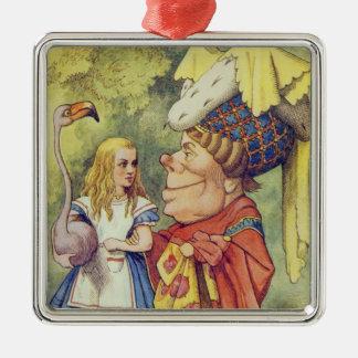 Alice med hertiginnan julgransprydnad metall