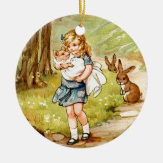 Alice och grisbabyen i underland julgransprydnad keramik