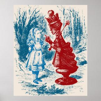 Alice som möter den röda drottningen poster