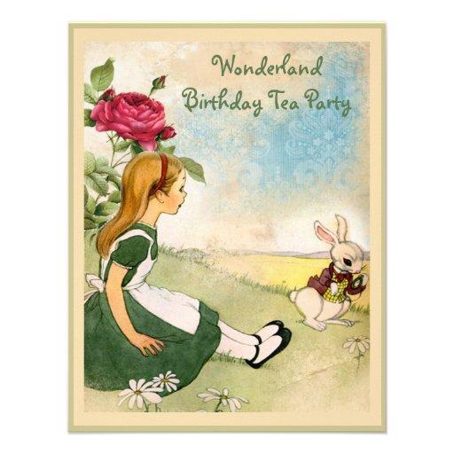 Alice & vitkaninunderlandfödelsedagsfest inbjudan