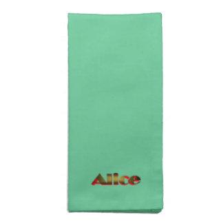Alices gröna middagservetter tygservett