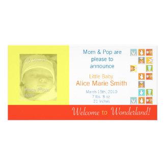Alices meddelande för baby för party för kvarterTe Fotokort