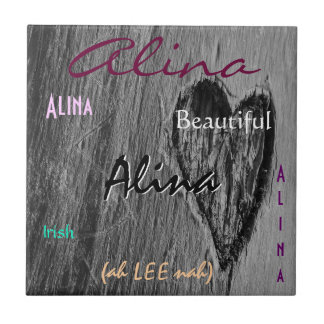 Alina Name Irish Meaning with Black Heart Tile