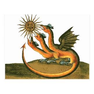 Alkemidrake med månen och solen vykort