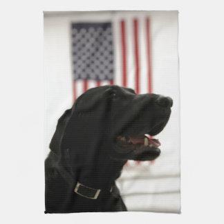 All-Amerikan svart Labrador Retriever Kökshandduk