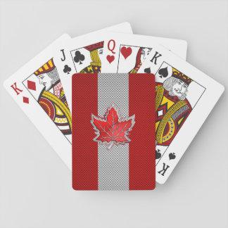 All kanadensisk röd lönnlöv på kolfibertryck spelkort