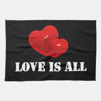 All kärlek är, röd hjärtadesign kökshandduk