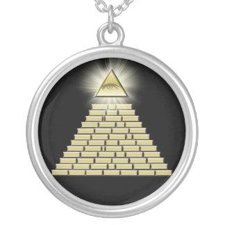 All seende ögapyramid 2 silverpläterat halsband