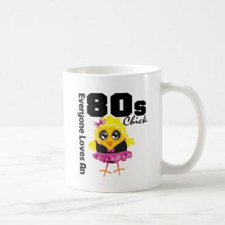 Alla älskar en 80-talchick vit mugg