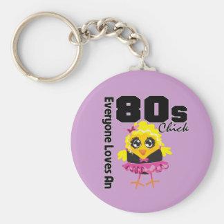Alla älskar en 80-talchick rund nyckelring
