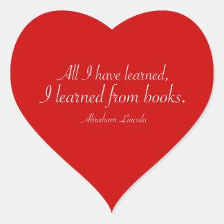 Alla har jag lärt, I som är lärt från bokar Hjärtformat Klistermärke