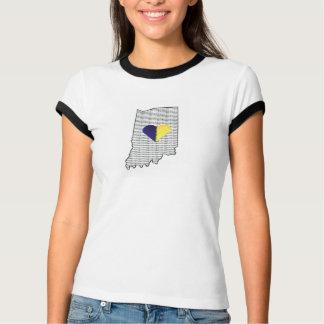 """""""Alla Hoosier"""" kvinna utslagsplats T Shirts"""