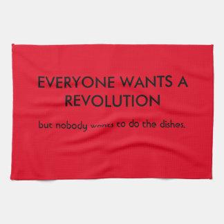 Alla önskar revolutionen men… kökshandduk
