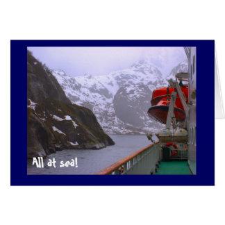 Alla på havet! , på de norska fjordsna hälsningskort