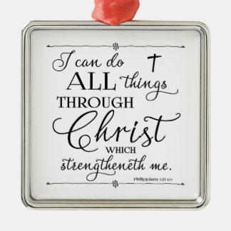 Alla saker till och med Kristus - Philippians4:13 Julgransprydnad Metall