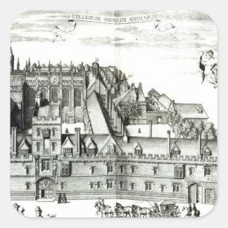 Alla Souls högskola, Oxford universiteten, 1675 Fyrkantigt Klistermärke