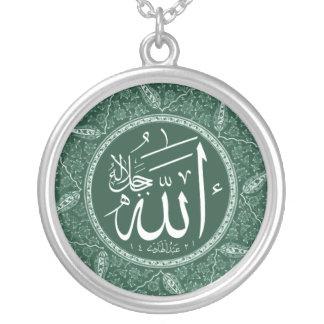 Allah namn i arabiska halsband med rund hängsmycke