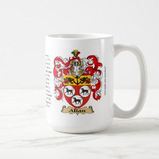 Allan, ursprung, det menande och vapenskölden kaffemugg