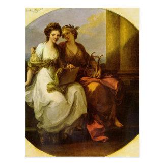 Allegori av poesi och musik vid angelicaen vykort