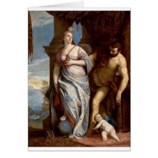 Allegori av vishet och styrka av Paolo Veronese Hälsningskort