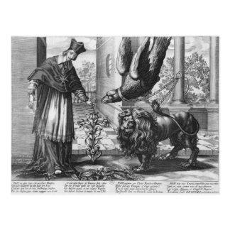Allegori i beröm av Cardinal Richelieu Vykort