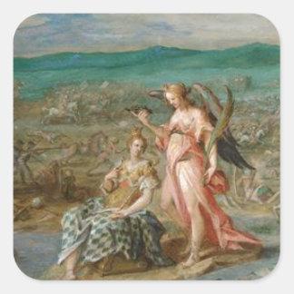Allegori på striden av Sisak av Hans von Aachen Fyrkantigt Klistermärke