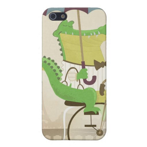 Alligator som rider en cykel i Paris iPhone 5 Skydd