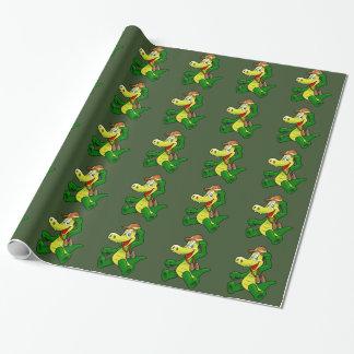 Alligator som slår in papper presentpapper