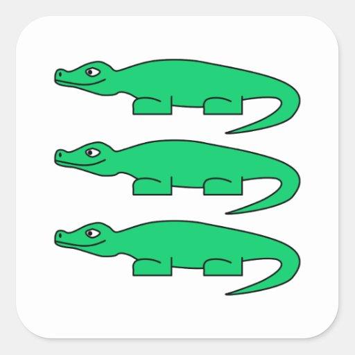 Alligatorer Fyrkantiga Klistermärken