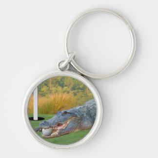Alligatorn farlig Golf ljuger Rund Silverfärgad Nyckelring