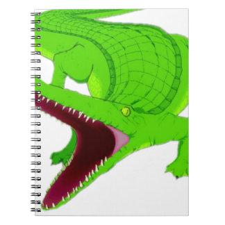 alligatortecknad anteckningsbok