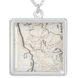 Allmän karta av Nordamerika Halsband Med Fyrkantigt Hängsmycke