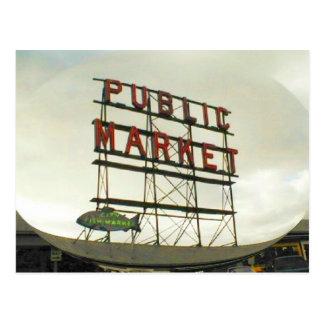 Allmänhet marknadsför i Seattle, WA Vykort