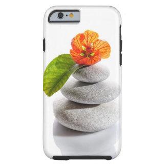 Allsidiga stenar och röd blomma tough iPhone 6 fodral