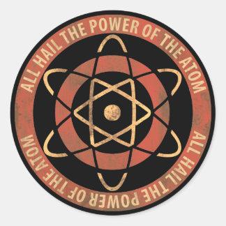 Allt hagel driva av Atom50-tallogotypen Runt Klistermärke