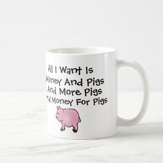 Allt I Want är pengar och grisar Kaffemugg