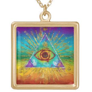 Allt seende öga av guden - abstrakt sketchy konst halsband med fyrkantigt hängsmycke